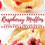These homemade raspberry muffins are fluffy, moist and filled with sweet, juicy berries. They have a soft texture because they're made with buttermilk (or sour cream), and adding a little lemon zest brightens up the flavor. What's not to love about this easy raspberry muffin recipe?#muffins #raspberry #raspberrymuffins #recipes #breakfast #brunch #summer #spring #easy