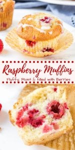 These homemade raspberry muffins are fluffy, moist and filled with sweet, juicy berries. They have a soft texture because they're made with buttermilk (or sour cream), and adding a little lemon zest brightens up the flavor. What's not to love about this easy raspberry muffin recipe?  #muffins #raspberry #raspberrymuffins #recipes #breakfast #brunch #summer #spring #easy