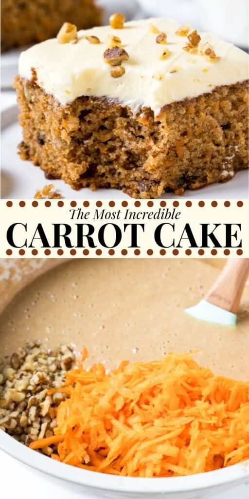 This moist carrot cake with cream cheese frosting will be your new go-to recipe. It's tender and soft with a delicious carrot cake flavor and can be made with or without pineapple for the perfect carrot cake recipe!#carrotcake #easter #easterrecipes #dessert #sheetcake #cake #recipes