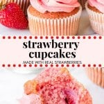 These fresh Strawberry Cupcakes have a delicious strawberry flavor and chunks of fresh strawberries in the cake batter. Then they're frosted with strawberry frosting made from real berries for the perfect pretty-in-pink cupcake. #strawberies #cupcakes #strawberrycupcakes #recipes #spring #strawberrycake #strawberryfrosting #strawberrybuttercream #pink