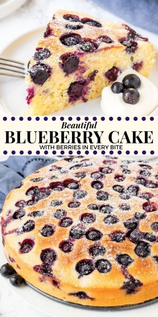This beautiful blueberry cake is supremely moist, with a deliciously soft & tender crumb, and a slight hint of lemon. It's not too sweet - which makes it ideal for afternoon tea or brunch. It's easy to whip up, and with juicy berries in every bite - it's the perfect way to showcase fresh blueberries. #blueberries #blueberry #cake #coffeecake #recipes #blueberrycake #summer #desserts #spring #berries