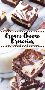 These cream cheese brownies are rich and fudgy with a swirl of cheesecake. The tanginess of the cheesecake layer balances out the extra chocolate-y brownies, making these the perfect decadent brownie recipe. #brownies #creamcheesebrownies #recipes #cheesecake #creamcheese #chocolate