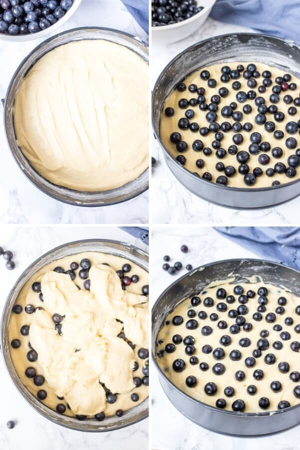 Step by step collage photos showing how to make blueberry cake that's moist and tender.