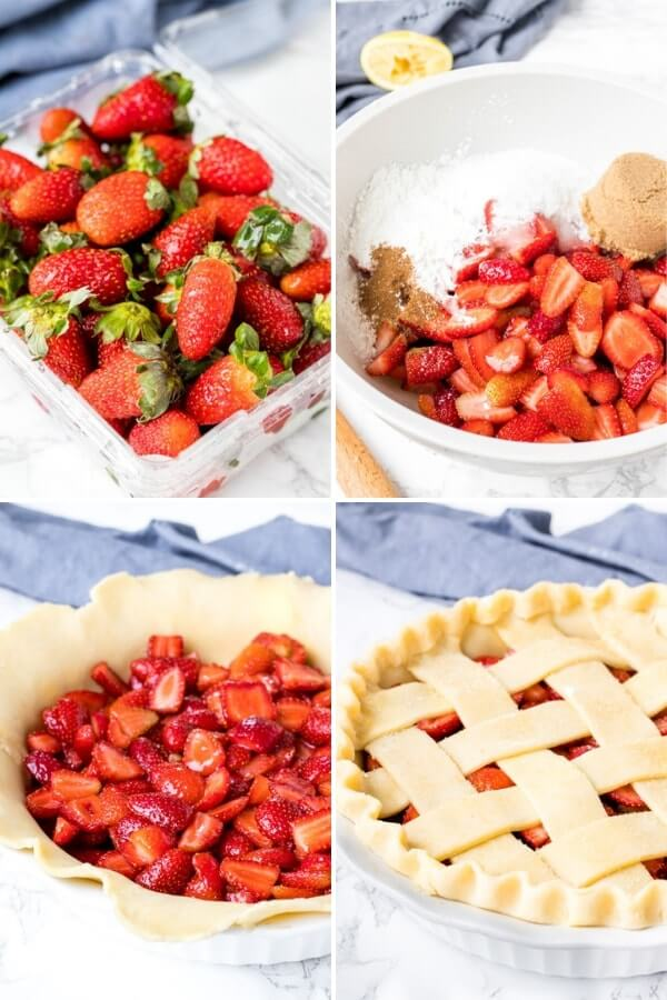 Step by step collage showing the steps in making baked strawberry pie.