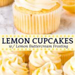These homemade lemon cupcakes are fluffy, moist and topped with lemon buttercream frosting. The citrus flavor is the perfect balance of sweet and tangy, and perfect for true lemon lovers.#lemoncupcakes #lemoncake #frosting #cake #buttercream #lemon #recipes #easy #spring #summer