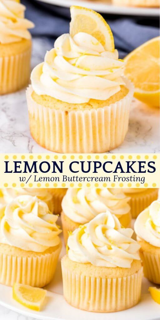 These homemade lemon cupcakes are fluffy, moist and topped with lemon buttercream frosting. The citrus flavor is the perfect balance of sweet and tangy, and perfect for true lemon lovers. #lemoncupcakes #lemoncake #frosting #cake #buttercream #lemon #recipes #easy #spring #summer