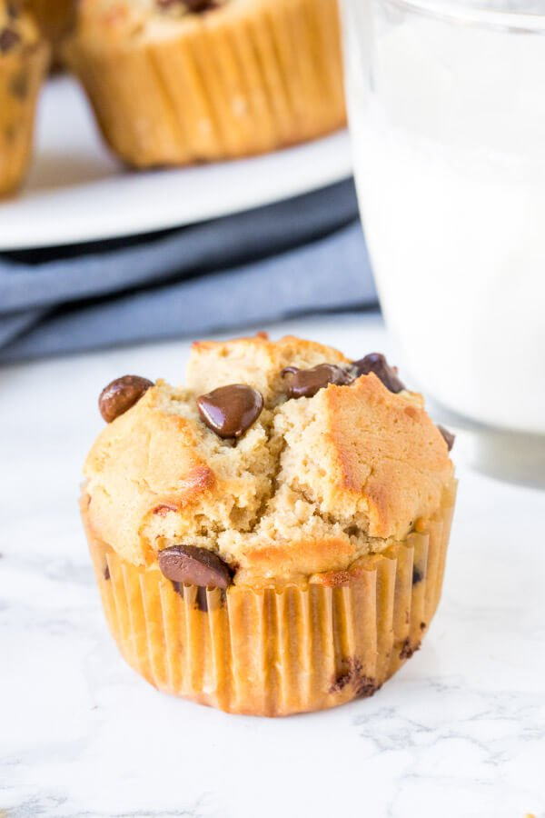 Easy peanut butter muffins have a delicious peanut butter flavor, moist texture, and are filled with chocolate chips. Make them for breakfast or a snack - they're the perfect way to get your peanut butter fix.