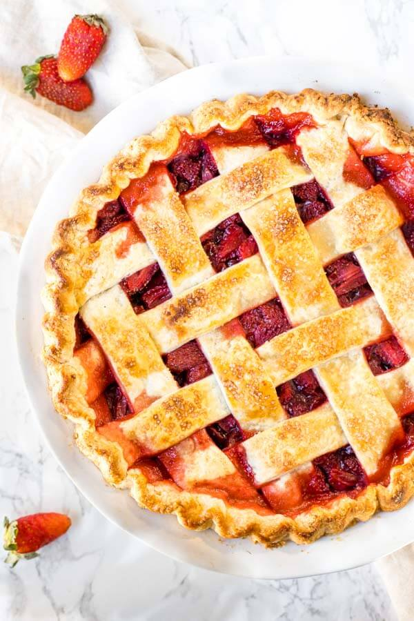 Baked Strawberry Pie with lattice pie crust on top.