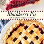 Sweet, juicy blackberry pie is made from scratch and the perfect pie for when fresh berries are in season (but it works with frozen berries too). With flaky pastry and a scoop of vanilla ice cream - it's the perfect blackberry pie recipe. #pie #blackberry #fruitpies #summer #pies #recipes #blackberrypie