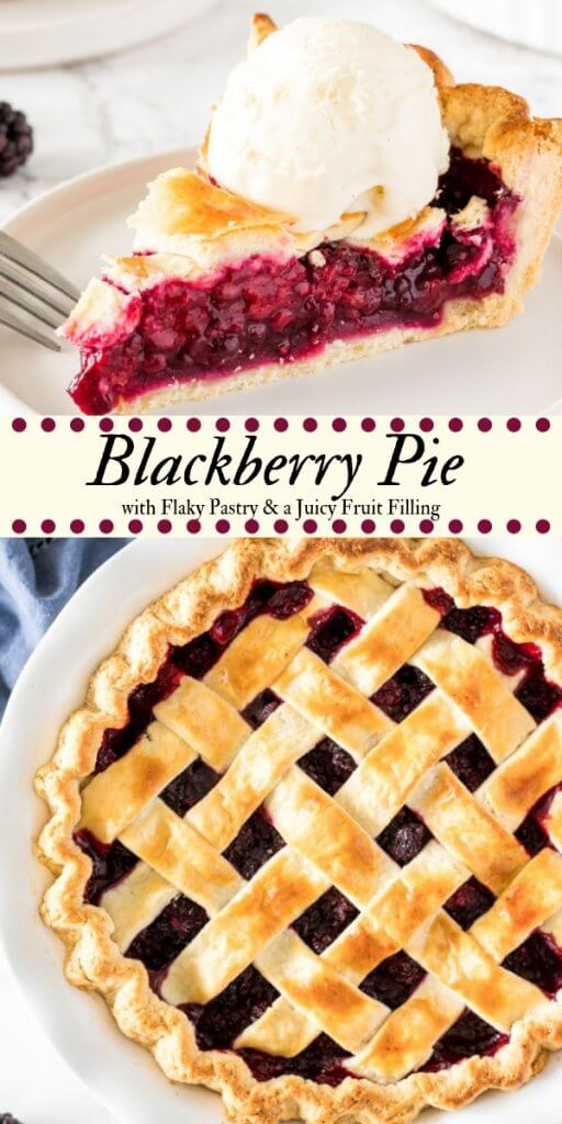 Sweet, juicy blackberry pie is made from scratch and the perfect pie for when fresh berries are in season (but it works with frozen berries too). With flaky pastry and a scoop of vanilla ice cream - it's the perfect blackberry pie recipe.#pie #blackberry #fruitpies #summer #pies #recipes #blackberrypie