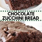 Chocolate zucchini bread that's incredibly moist, not too sweet, and packed with chocolate chips. The grated zucchini dissolves as it bakes - leaving you with a delicious chocolate loaf that's deliciously tender.#chocolate #zucchini #zucchinibread #loaf #bread #recipe #chocolatezucchinibread #zucchinirecipes #easy
