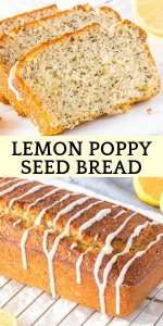 This lemon poppy seed bread is moist and tender with a fresh, sunshine-y lemon flavor. The poppy seeds add a delicious crunch, and the sweet, tangy lemon flavor makes it the perfect treat to remind you of springtime. #lemonloaf #lemonbread #lemonpoppyseed #lemonpoppyseedbread #recipes #loaves #breads #easy #summer #spring #poppyseeds