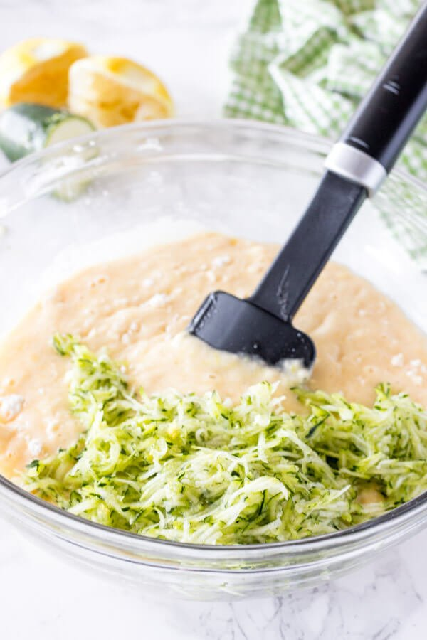 Lemon zucchini bread batter in a bowl before folding in the grated zucchini