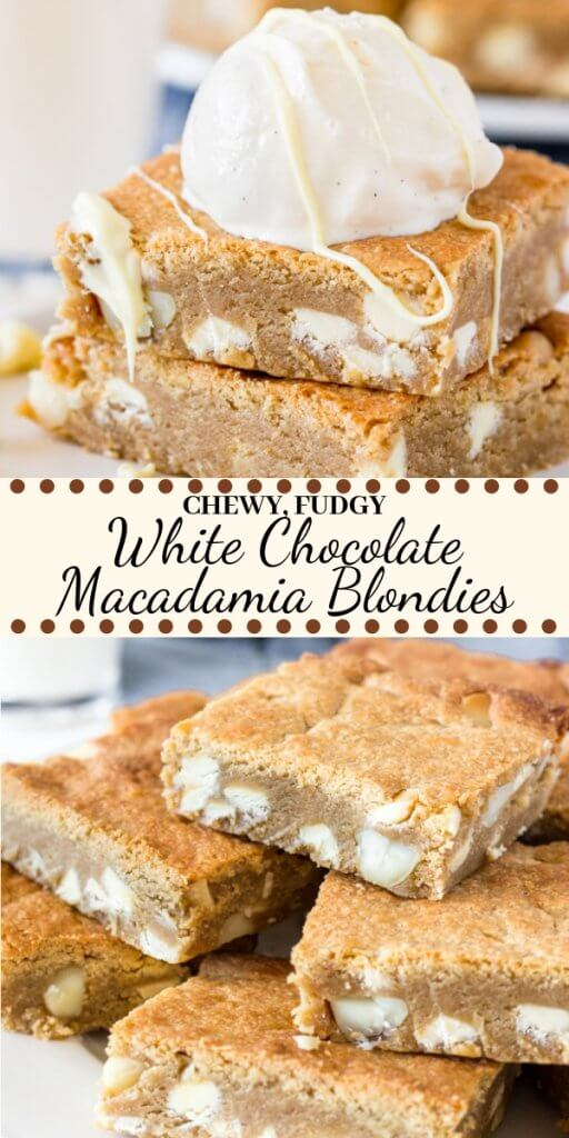 Chewy, fudgy & completely irresistible - these white chocolate macadamia blondies are the perfect blondie recipe. They have the texture of your favorite brownies and the flavor of the best ever white chocolate macadamia nut cookies. #blondies #whitechocolate #macadamianut #whitechocolatemacadamianut #whitechocolatemacadamiacookies #bars #recipes #easy