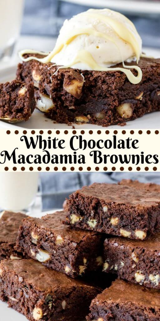 These white chocolate macadamia brownies have a fudgy texture, rich chocolate flavor and are filled with white chocolate chips and macadamia nuts. They're the perfect chocolate variation of your favorite cookies. #brownies #whitechocolate #macadamianuts #whitechocolatemacadamia #recipes #easy #brownierecipe #whitechocolatechip