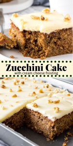 Zucchini cake is a moist, dense, spice cake that's topped with tangy cream cheese frosting. Brown sugar, cinnamon and nutmeg give the cake its delicious flavor - then adding grated zucchini makes the cake have the most irresistible crumb. And when there's cream cheese icing involved - can you really go wrong? #zucchini #recipes #cake #zucchinicake #zucchinidesserts #creamcheesefrosting #spicecake