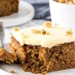 This moist, tender zucchini cake is filled with spices and topped with cream cheese frosting.