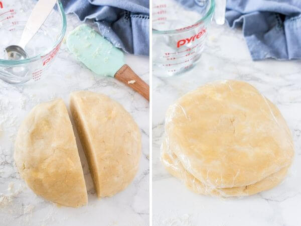 Step by step photos showing first after the pie dough has come together and been formed into a ball, and then second after it's been divided in 2 equal pieces and each is formed in a disc shape and wrapped in plastic.