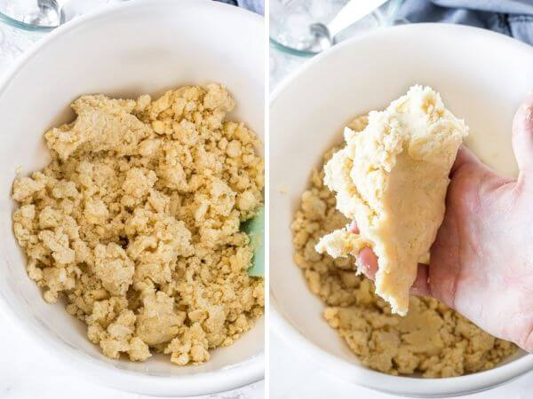 2 side by side photos showing what the pie dough will look like after the water has been incorporated.