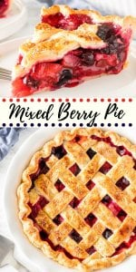 This mixed berry pie has triple the deliciousness because we're using 3 types of berries! The fruit filling is sweet and juicy without being soupy, and can easily be made all year long with fresh or frozen berries. #berrypie #mixedberry #tripleberry #tripleberrypie #mixedberrypie #pierecipes #summer #desserts #pie #tripleberrypie #strawberry #blueberry #raspberry