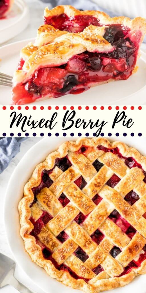 This mixed berry pie has triple the deliciousness because we're using 3 types of berries! The fruit filling is sweet and juicy without being soupy, and can easily be made all year long with fresh or frozen berries.#berrypie #mixedberry #tripleberry #tripleberrypie #mixedberrypie #pierecipes #summer #desserts #pie #tripleberrypie #strawberry #blueberry #raspberry
