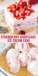 Strawberry ice cream, whipped cream and fresh berries make this strawberry shortcake ice cream cake impossible to resist. All you have to do is assemble the layers - no baking involved - for the perfect no-bake summer treat.#strawberryshortcake #strawberryicecreamcake #strawberriesandcream #strawberries #strawberrycrunch #strawberryicecream #strawberryshortcakeicecreamcake #summer #dessert #nobake