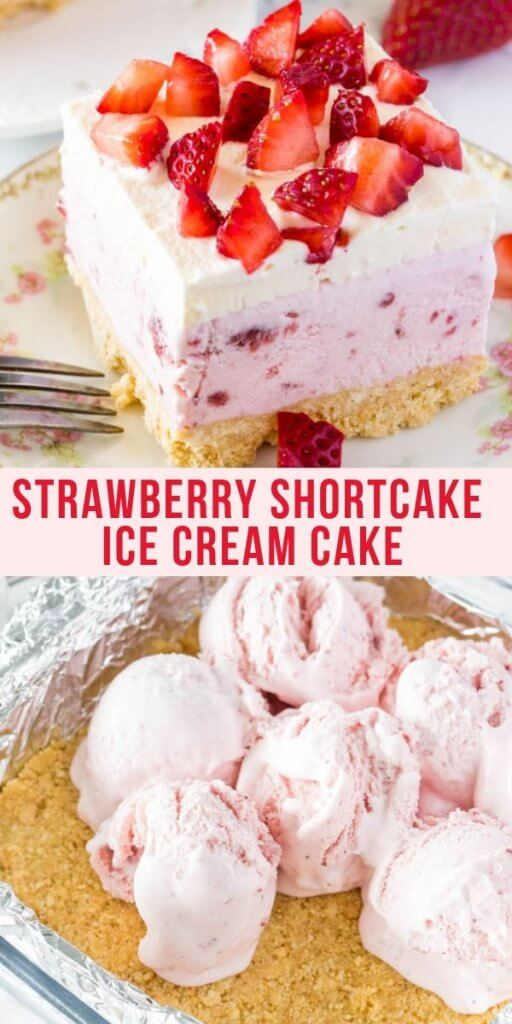 Strawberry ice cream, whipped cream and fresh berries make this strawberry shortcake ice cream cake impossible to resist. All you have to do is assemble the layers - no baking involved - for the perfect no-bake summer treat. #strawberryshortcake #strawberryicecreamcake #strawberriesandcream #strawberries #strawberrycrunch #strawberryicecream #strawberryshortcakeicecreamcake #summer #dessert #nobake