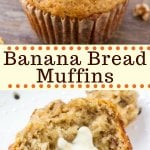 Banana bread muffins are moist, fluffy and filled with big banana flavor. It's an easy, no mixer recipe that makes perfect banana muffins every time. #bananas #muffins #breakfast #recipes #bananabread #bananamuffins #easy #moist #fromscratch