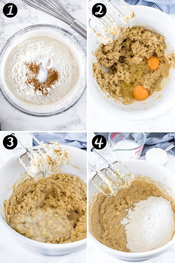 Step by Step photos showing the stages of how to make banana bundt cake