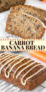 1 part your favorite banana bread, 1 part the best-ever carrot cake, and all parts delicious. This banana carrot bread is incredibly flavorful and topped with a drizzle of cream cheese icing. #bananabread #carrotcake #carrotbread #quickbread #recipe #easy #fromscratch #bananacarrotbread