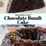 This easy chocolate bundt cake is moist, fudgy, and oh so chocolatey. It's topped with chocolate ganache for a chocolate cake that's rich, not too sweet, and completely decadent.#chocolatecake #bundtcake #ganache #easy #moist #chocolatebundt #fromscratch #homemade