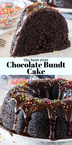 This easy chocolate bundt cake is moist, fudgy, and oh so chocolatey. It's topped with chocolate ganache for a chocolate cake that's rich, not too sweet, and completely decadent. #chocolatecake #bundtcake #ganache #easy #moist #chocolatebundt #fromscratch #homemade