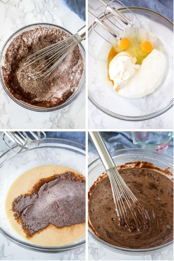 Step by step photos showing how to make the batter for a chocolate bundt cake.