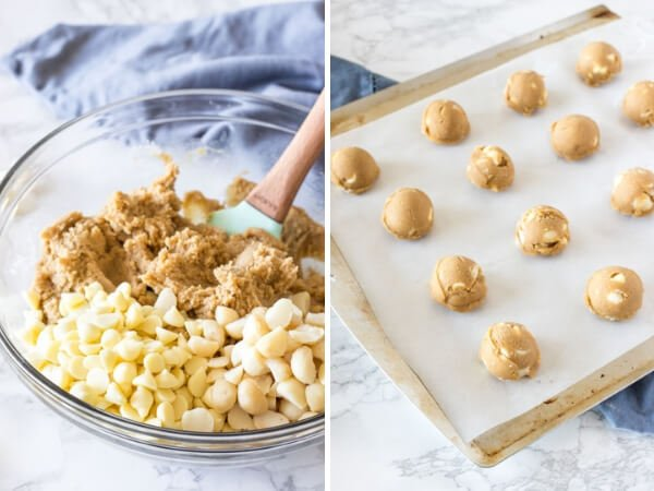 White Chocolate Macadamia Cookie dough - before the chocolate chips and nuts are stirred into the batter, and after the dough has been formed into balls and placed on a lined cookie sheet.