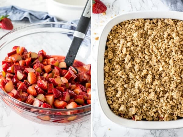 2 side by side photos showing the steps of how to make strawberry rhubarb crisp. The first photo showing the cut of rhubarb & strawberry fililng, the 2nd photo showing the oatmeal brown sugar topping crumbled on top.