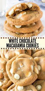 These white chocolate macadamia cookies have soft and chewy centers, perfectly golden edges, and are packed with white chocolate and macadamia nuts. This recipe has been tested, retested & taste tested to produce buttery, chewy cookies that are seriously impossible to resist. #whitechocolate #macadamianut #cookie #recipes #whitechocolatemacadamianutcookies #easy #fromscratch