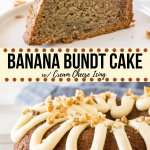 This easy banana bundt cake is moist and flavorful with a soft, buttery crumb. It's topped with cream cheese icing - and you can add chopped walnuts or chocolate chips to the cake batter for even more flavor. It just might be your new favorite banana cake.#bananacake #bundtcake #fromscratch #bananabundtcake #easy #recipe #bananabread #cake #bananabreadcake #creamcheesefrosting #creamcheeseicing