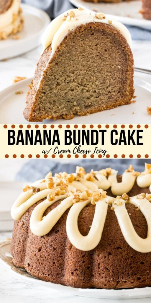 This easy banana bundt cake is moist and flavorful with a soft, buttery crumb. It's topped with cream cheese icing - and you can add chopped walnuts or chocolate chips to the cake batter for even more flavor. It just might be your new favorite banana cake. #bananacake #bundtcake #fromscratch #bananabundtcake #easy #recipe #bananabread #cake #bananabreadcake #creamcheesefrosting #creamcheeseicing