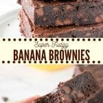 Chewy, fudgy, super moist banana brownies have a delicious chocolate flavor and hint of banana. Made with simple, everyday ingredients - they're the perfect way to use up your brown bananas AND get your chocolate fix. #bananabrownies #brownies #fudge #moist #bananas #cocoa #chocolate #easy #recipe