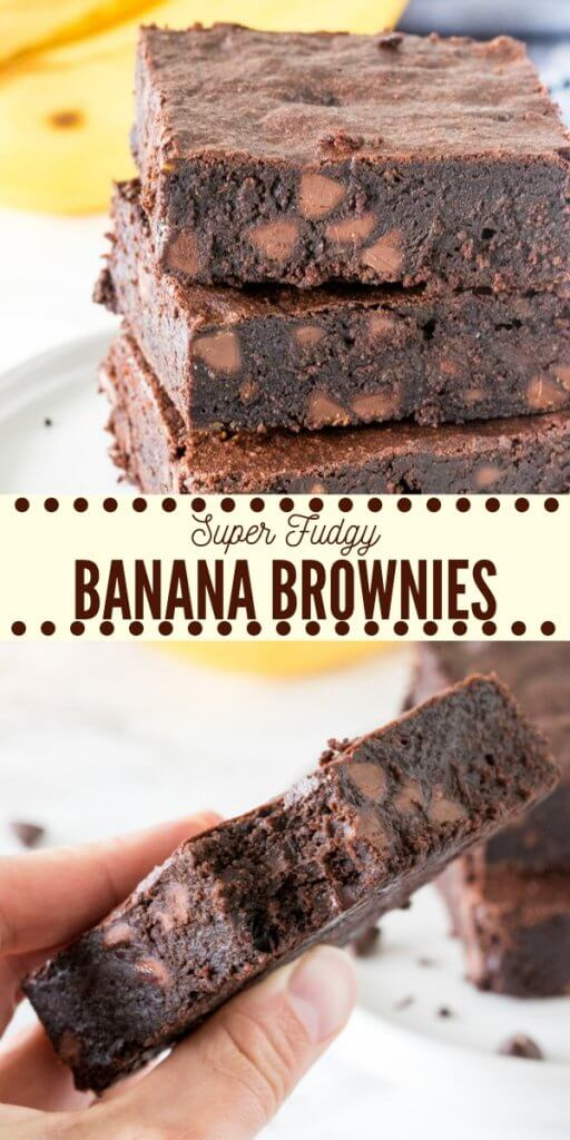 Chewy, fudgy, super moist banana brownies have a delicious chocolate flavor and hint of banana. Made with simple, everyday ingredients - they're the perfect way to use up your brown bananas AND get your chocolate fix.#bananabrownies #brownies #fudge #moist #bananas #cocoa #chocolate #easy #recipe