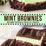These chocolate mint brownies have 3 layers of deliciousness: a fudgy brownie, creamy mint buttercream, and rich chocolate ganache on top. Make them from scratch for the perfect mint chocolate treat!#brownies #mint #layered #fromscratch #easy #brownierecipe #mintchocolate #dessertrecipes #chocolate #desserts