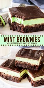 These chocolate mint brownies have 3 layers of deliciousness: a fudgy brownie, creamy mint buttercream, and rich chocolate ganache on top. Make them from scratch for the perfect mint chocolate treat! #brownies #mint #layered #fromscratch #easy #brownierecipe #mintchocolate #dessertrecipes #chocolate #desserts