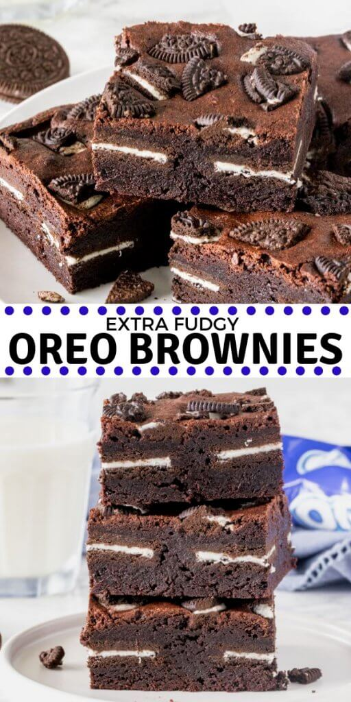 These insanely delicious Oreo brownies are extra fudgy, stuffed with Oreo cookies, and topped with even more Oreos. Made from scratch and oh so easy! #oreos #brownies #recipes #chocolate #oreobrownies #fromscratch #fudge #easy #stuffed