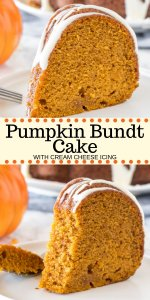 Hands down - the best pumpkin cake you'll ever try! This moist pumpkin bundt cake has a delicious pumpkin flavor, is filled with warm spices, and topped with a drizzle of cream cheese glaze. Way easier than making pumpkin pie - it's the perfect dessert for fall. #pumpkin #pumpkincake #bundt #easy #dessert #fall #thanksgiving #recipe #fromscratch #moist #creamcheese #pumpkinbundtcake