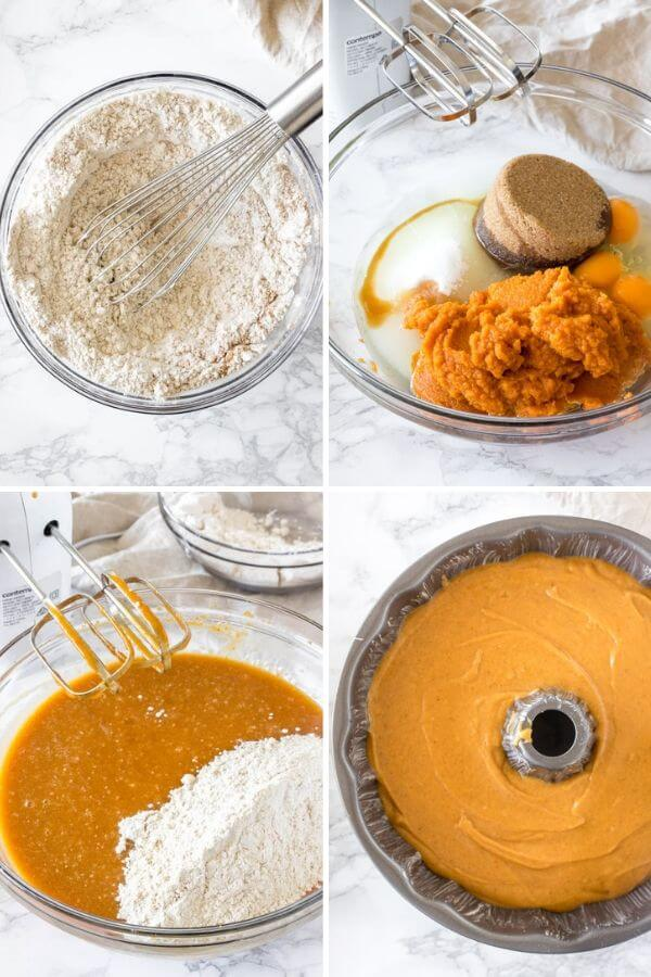 Collage of 4 step by step photos showing how to make a pumpkin bundt cake.
