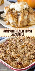 Pumpkin French Toast Casserole can easily be prepped the night before and baked the next morning. It feeds a crowd, has a delicious pumpkin flavor, and a cinnamon streusel topping for a little crunch. #pumpkin #frenchtoast #casserole #makeahead #overnight #fall #thanksgiving #breakfast #foracrowd