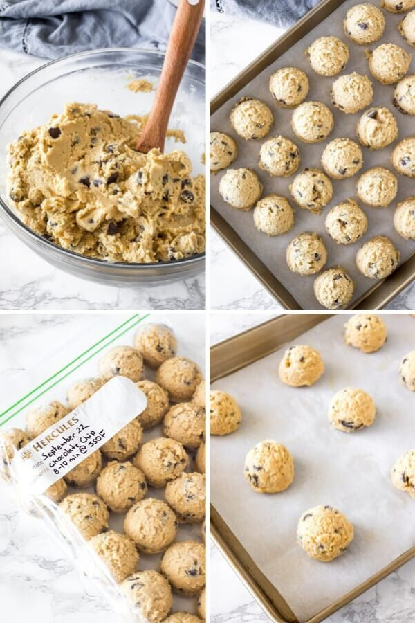 Step by step collage of how to freeze cookie dough