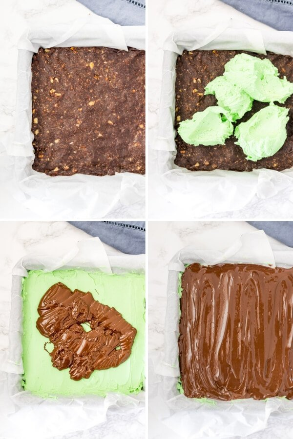 Step by step photos of how to making mint Nanaimo bars.