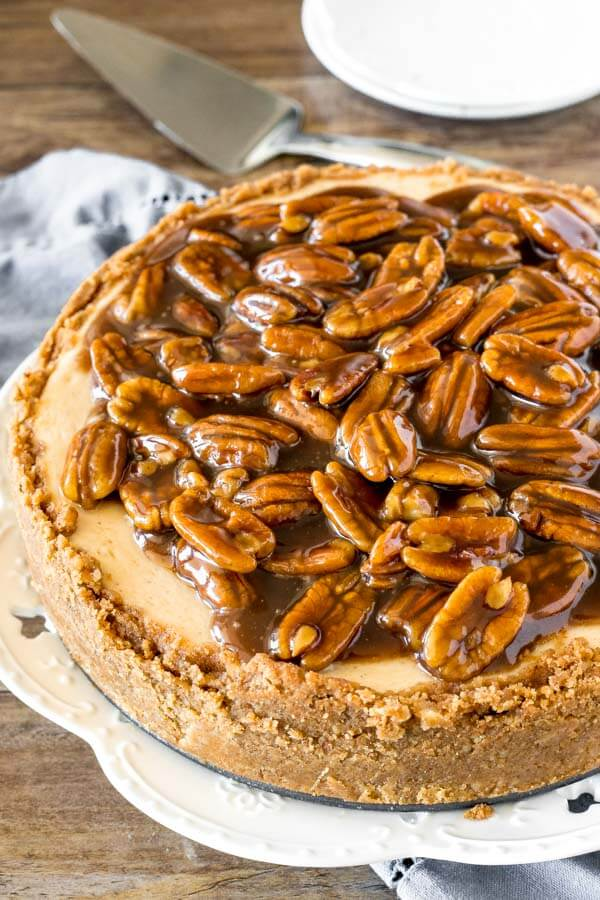 Pecan pie cheesecake, taken from slightly overhead to show the graham cracker crust and butterscotch pecan topping.