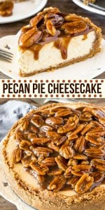 Extra creamy cheesecake with a delicious pecan pie topping, and cinnamon pecan graham cracker crust! This pecan pie cheesecake is a seriously next-level dessert! #cheesecake #fall #dessert #pecanpie #thanksgiving #recipe #easy #pecanpiecheesecake #justsotasty #best #fromscratch